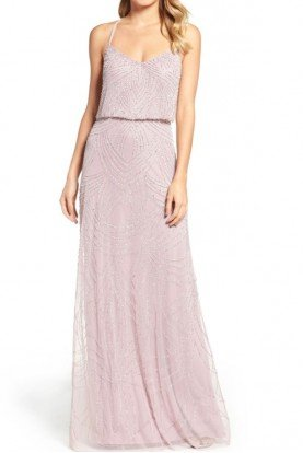 Light Heather Gray  Beaded Art Deco Blouson Gown