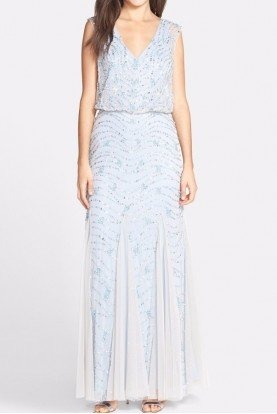 Beaded Silver Blue Embellished Blouson Dress Gown