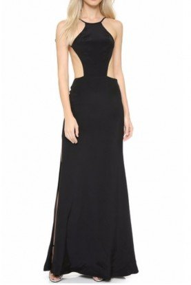 Black Silk Maxi Cutout Gown XS
