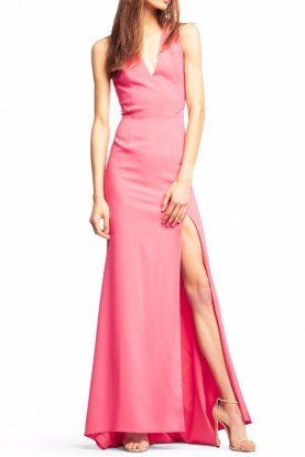 V Neck Pink Gown Long Evening Prom Dress