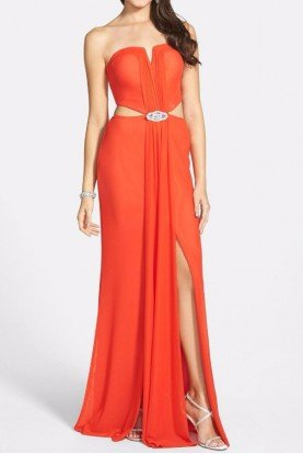 Hailey Logan Sleeveless Embellished Cutout Gown Orange Red