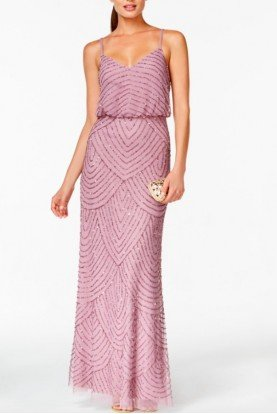 Adrianna Papell Lilac Spaghetti Strap Art Deco Beaded Blouson Gown