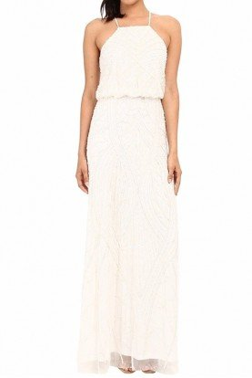 Ivory  White Fully Beaded Halter Gown Dress Bridal
