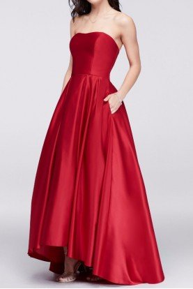 Strapless High-Low Satin Ball Gown Red  Mikado