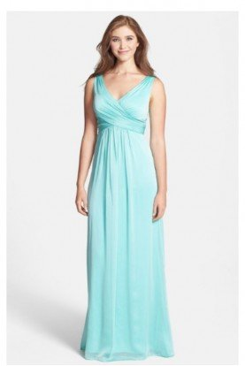 Aqua Mint Dress V neck A line Chiffon Gown