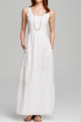 Adrianna Papell White Eyelet Lace Maxi Dress