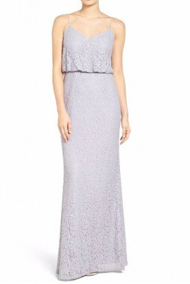 Adrianna Papell Blouson Lace Gown  Gray Slate