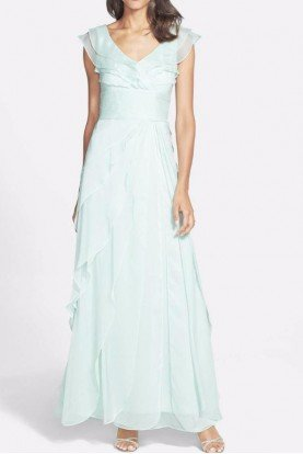 Tiered Cap Sleeve Chiffon Gown Mint Green Honeydew