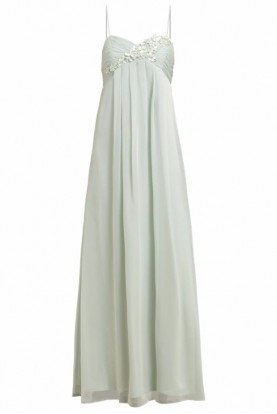 Floral applique chiffon gown bridesmaid dress mint