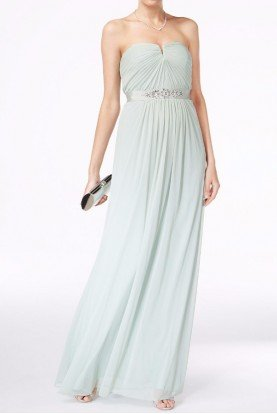 Mint Chiffon Strapless Gown Bridesmaid Dress
