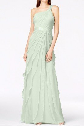 One Shoulder Tiered Chiffon Mint Gown Bridesmaid