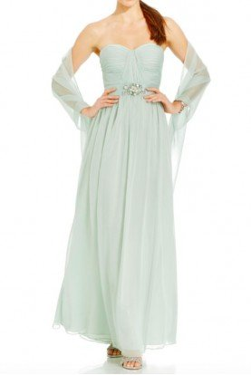 Chiffon Mint Green Strapless Gown Bridesmaid Dress