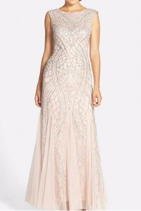 Cap Sleeve Beaded Column Gown in Natural Shell