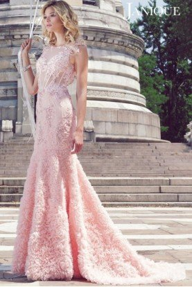 Blush Flower Applique Gown 1514