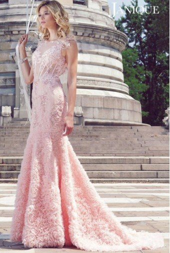 Janique Blush Flower Applique Gown 1514