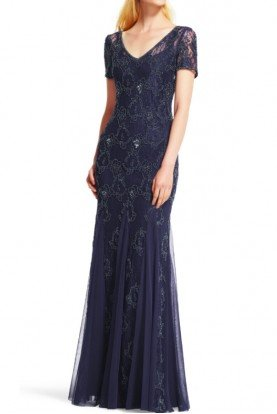 Navy Blue Beaded V-neck Lace Short Sleeve Gown