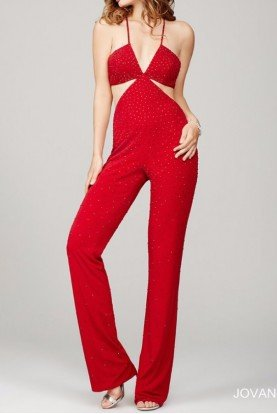 Jovani Red Beaded Jumpsuit with Cutouts 36256 Open Back