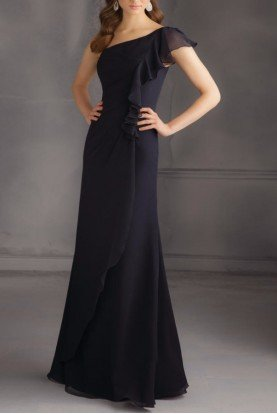 Mori Lee One Shoulder Chiffon Gown 20436 Black Dress
