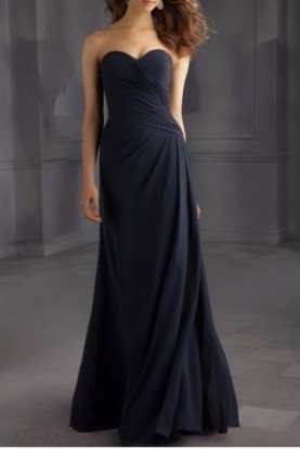 Navy Jersey Gown Floor Length Bridesmaid Dress