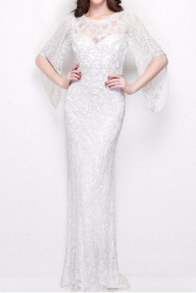 Primavera Couture 9713 Beaded Bell Sleeve Sequin Gown