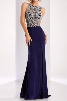 Clarisse 4842 Arrested Attention Embellished Navy Gown