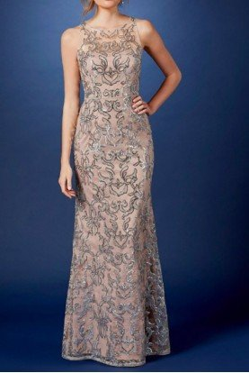 Blush Sequin Lace Illusion Halter Neck Gown Dress
