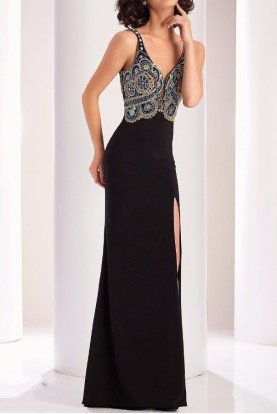 4828 Black Fanciful Beaded Evening Gown Dress