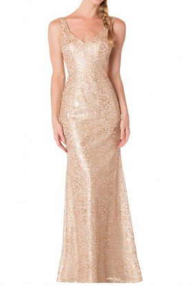 Bari Jay 1733 Gold Sequin Shimmering Gown