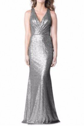 Bari Jay 1601 Steel Silver Sequin Gown Dress