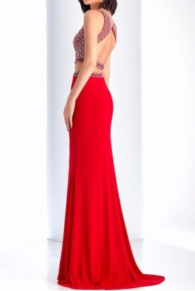 3120 Red Diamond Studded Two Piece Gown Prom dress