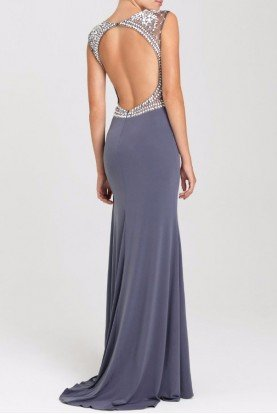 16417 Gunmetal Silver Beaded Cap Sleeve Gown