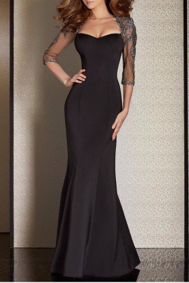 M6204 Sweetheart Black Gown Evening Dress