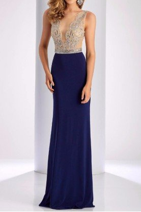3080 Embellished Navy Evening Dress Illusion Gown