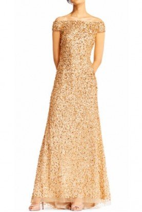 Gold Off Shoulder Sequin Beaded Gown Dress