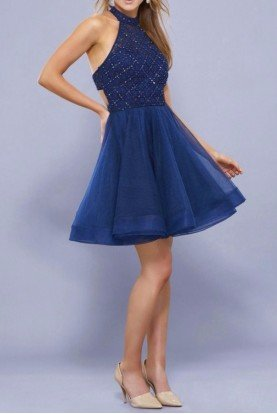 6316 Navy Twilight Tulle Party Fit and Flare Dress