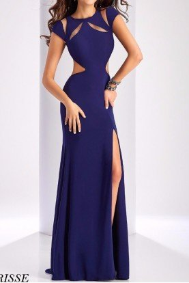 3089 Navy Blue Cutout Heaven Evening Gown