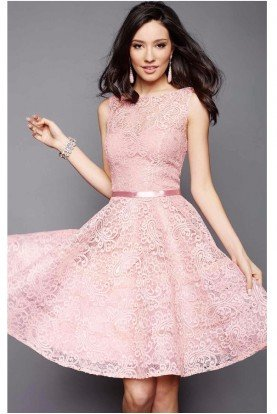 Clarisse 3335 Paisley Lace Fit and Flare Cocktail Dress