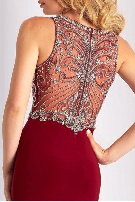 S3075 Burgundy Crystal Embellished Cocktail Dress
