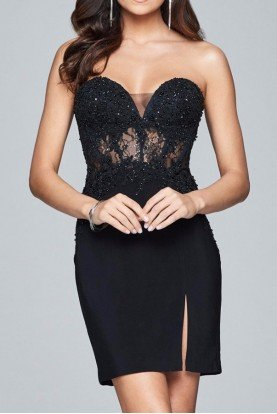 S8074 Black Strapless Lace Corset Cocktail Dress