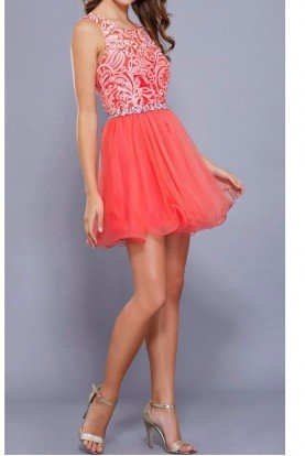 6252 Coral Embroidered Tulle Party Dress