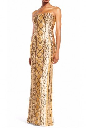 Adrianna Papell Strapless Gold Sequin Cable Knit Column Gown Dress