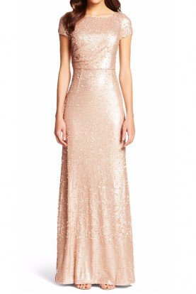 Sequined Gathered Evening Dress Gown  Nude