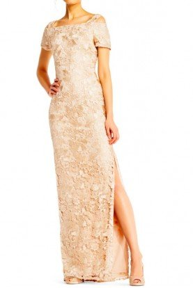 Lace Nude Column Dress with Cold Shoulder Sleeves