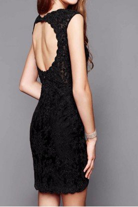 3356 Black Luxurious Lace Plunge Dress Open Back