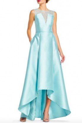 Adrianna Papell High low ball in  Aqua Blue Evening Dress Gown