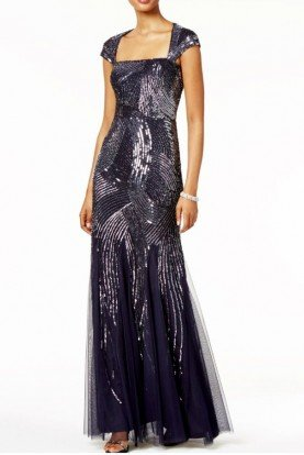 Cap Sleeve Fully Beaded Navy Evening Gown