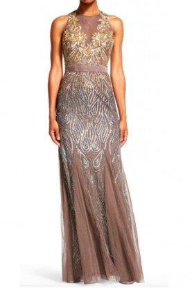 Adrianna Papell Gold Floral Beaded Halter Mermaid Dress Gown