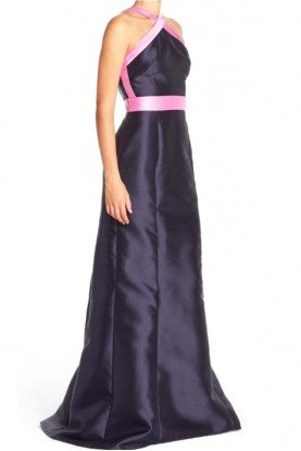 Colorblock Mikado Ball Gown Navy Halter Dress