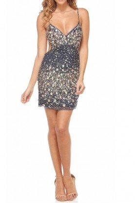 Encrusted Cutout Mini Dress in Navy 98764