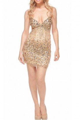 Encrusted Cutout Mini Dress in Gold 98764